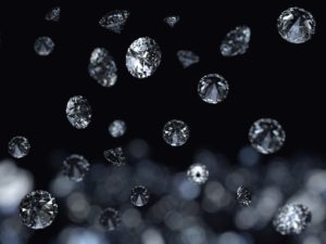 Falling diamonds on black background
